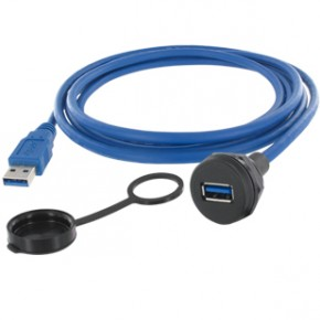 """USB-A 3.0 BUCHSE-M22 0,5m VERBINDUNGSLTG. """"EVG"""""""